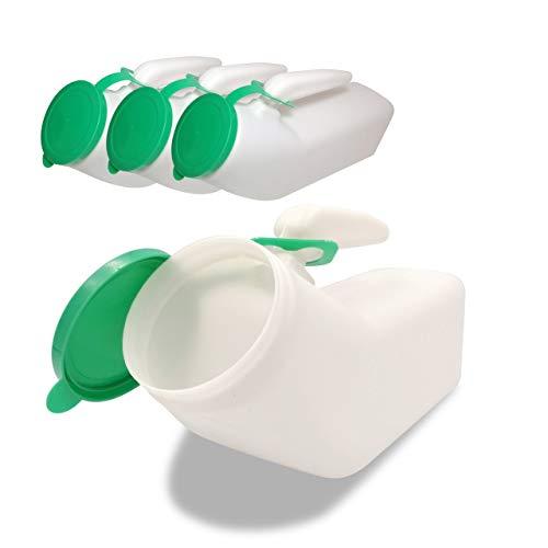 JJ Care Urinals for Men 1000ml 4 Pack Spill Proof Plastic Pee Bottles for Men with Snap on Lid Male Urinals Pee Container Men Portable Urinal Bottle for Travel Elderly amp Incontinence Green
