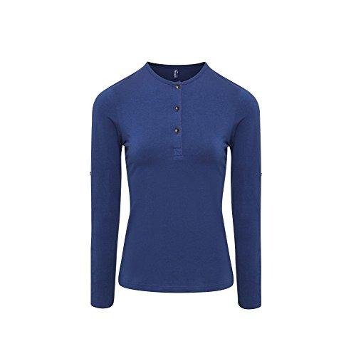 Premier - Camiseta de Manga Larga con Botones para Mujer (2XL/Azul índigo)