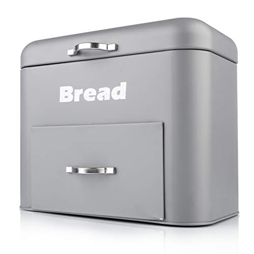 Large Metal Bread Box - Double Drawer Bread Bin Container - Vintage Bread Holder Storage for Kitchen Counter Top