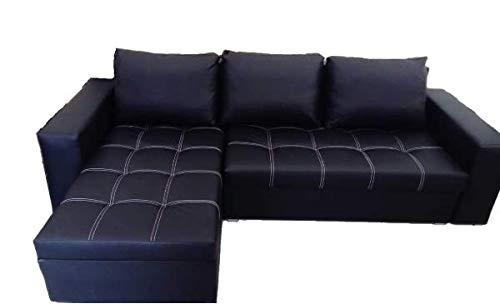 Ecksofa Schlaffunktion Bettfunktion Couch L-Form Polstergarnitur Wohnlandschaft Polstersofa mit Ottomane Couchgranitur - BRUNKS -L schwarzes Öko-Leder,...