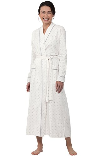 PajamaGram Classic Women's Robes Long - Polka Dot Ladies Robe, Cream, L 12-14