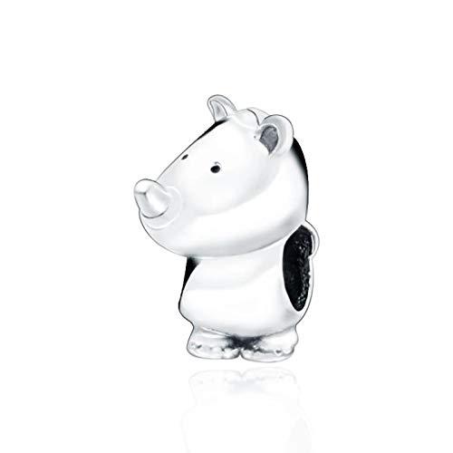 Regalo Universal Para Mujer, Cuentas De Plata De Ley 925, Abalorio De Rinoceronte Para Bebé, Compatible Con Pulseras Pandora Originales, Regalo De Joyería Diy