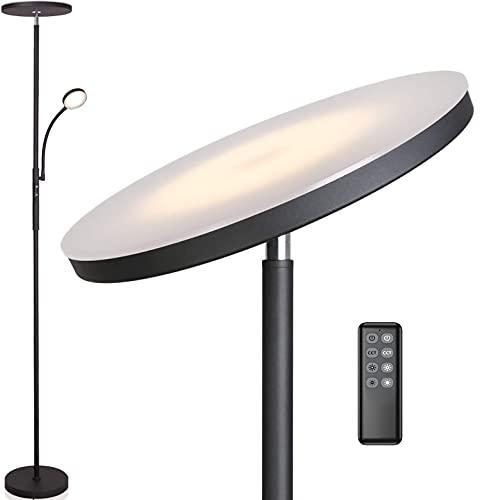 Anten Deckenfluter Klara mit Leselampe | schwarz | 30W dimmbare Led Stehlampe mit Fernbedienung | 3 Lichtfarbe | Heilligkeit stufenlos einstellbar | helle Stehlampen für Wohnzimmer Büro.