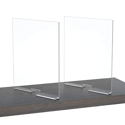NIUBEE Divisores de estantes acrílicos para armarios, 2 unidades, 12x10, 2