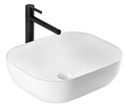 VBChome Waschbecken 46 x 33 klein Keramik Oval Waschtisch Handwaschbecken AUFSATZWASCHBECKEN WASCHSCHALE GÄSTE WC