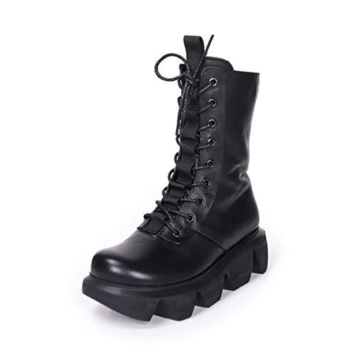 SLM-max waterbestendig Dames enkellaarsjes met dikke bodem Blok Lage hakken Dames laarsjes met ritssluiting en gesp Schoenen kunnen het hele jaar door gedragen worden Antislip Perfect voor koude
