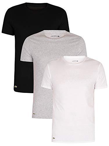 Lacoste Herren TH3321 Unterhemd, Männer 3er-Set,Unterwäsche,T-Shirt,Rundhals-Ausschnitt,Kurzarm,Basic,Uni,Regular Fit,Weiß,XL