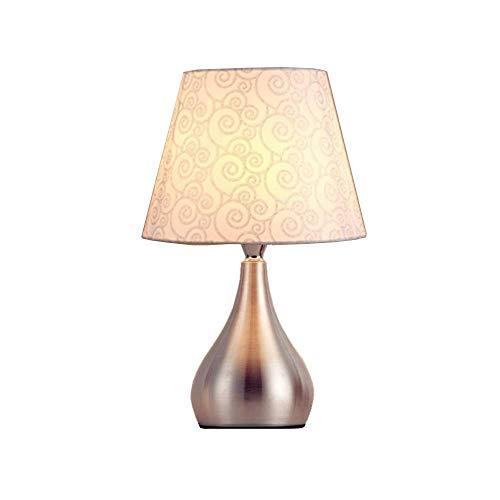 LYTZX Tischlampe aus Stoff, Tischlampe für den Schutz der Augen für Nachttisch, für das Bett für Studio zu Hause warm – Fuß aus Aluminium + Lampenschirm aus Stoff Dimming E