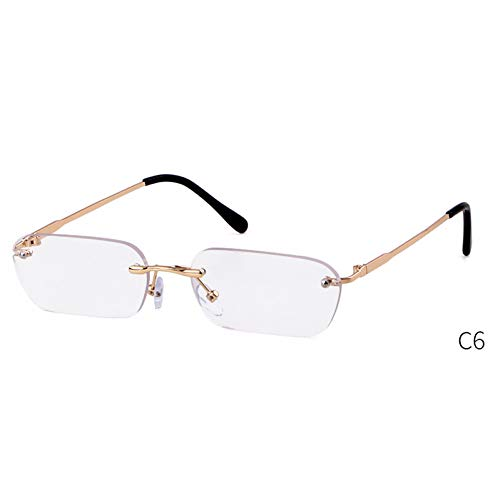 ZRTYJ Sonnenbrille Randlose Sonnenbrille Damen 90S Metallrahmen Markendesigner Rahmenlose Sonnenbrille Rechteckige Sonnenbrille Sonnenbrille