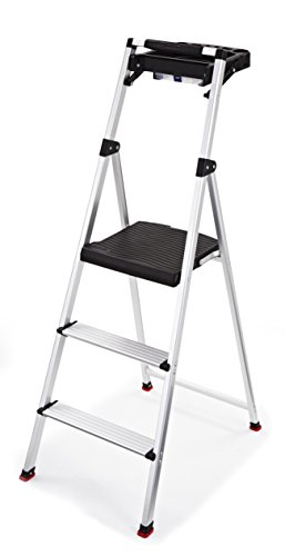 Rubbermaid RMA-3T 3-Step Lightweight Aluminum Step Stool with Project Tray