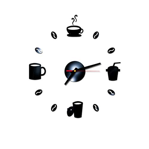 VOSAREA Reloj de Pared DIY Adhesivo Reloj Arte Moderno Adhesivo de Acrílico 3D Silencioso Decoraciones para el Hogar para Sala de Estar Dormitorio - Negro (No Incluye Batería)