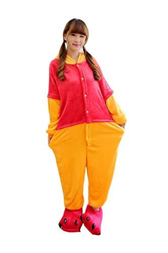 Lazutom Tier Cosplay Kostüme Onesies Pyjama Halloween Party Unisex-Adult Onepiece Nachtwäsche Weihnachten (S, Winnie Pooh)