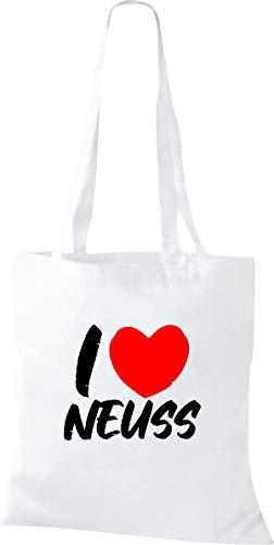 Shirtinstyle Stoffbeutel, I Love Neuss, Lieblingsstadt, Heimatort, Familie, Urlaub, City, Stadt, Sprüche, Beutel, Jute, Tasche, Shopper, Farbe, White