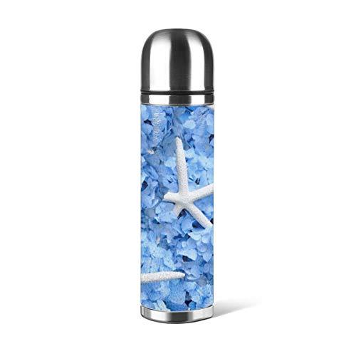 Art Fan-Design - Botella de agua de acero inoxidable con diseño de hortensias azules y estrellas de mar en la costa aislada al vacío de cuero a prueba de fugas de doble pared, contenedor de viaje, termo de 500 ml