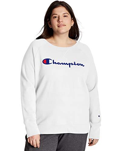 Champion Women's Plus Powerblend Crew, White, 2X