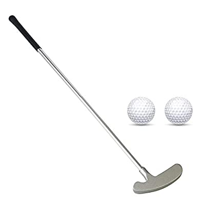 Golf Putter, Two Ways Golf Putters for Men Right/Left Handed-Indoor/Outdoor Mini Kids Club Golf Set in Sturdy Putter Shaft/Grip with 2 Plastic Practice Golf Balls for any Putting Green Mat Home Office
