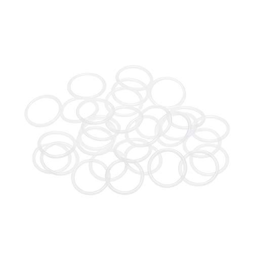 Sourcingmap, O-ring in silicone, diametro 17 mm, diametro 14 mm, larghezza 1,5 mm, guarnizione di tenuta VMQ per valvole compressore, riparazione tubi, bianco, confezione da 30
