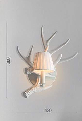 LED wandlamp van kunsthars met houteffect wandlamp podium hoorns achterkant hert wit hert boom