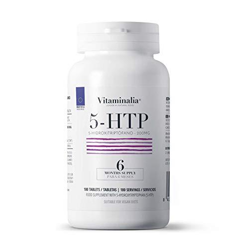5HTP 200mg de Vitaminalia | Doble Potencia | 5-HTP Extracto 15:1 Semilla de Griffonia | Para Dormir Mejor | Vegetariano, Sin OGM, Sin Gluten, Sin Lactosa | 180 Tabletas