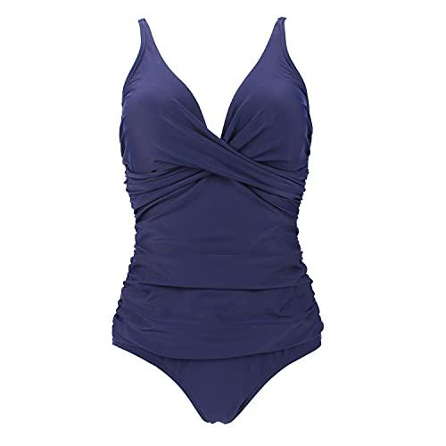 VILOREE Damen Monokini Bauchweg Schlankheits Badeanzug Plus Size Badebekleidung Bauchweg für Mollige Blau L