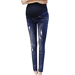 The High Waist maternity jeans over bump Womens jeans Leggings are the affordable yoga pants whether you're working out in the gym or lounging at home. These Full Length leggings also act as comfortable shapewear Material Compositions: Made of 90% PO...