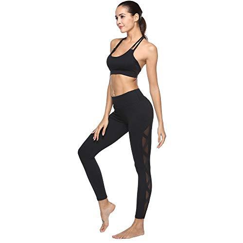 Dames yogabroek mode net effen gekleurde punten chic yarn holle leggings high waist slim fit fitness sportbroek joggingbroek