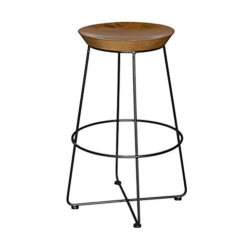 Tabourets de Bar Vintage Rustiques, avec Structure en Métal Noir et Siège en Bois Massif Style Industriel, pour Pub/Comptoir/Café/Cuisine/Maison