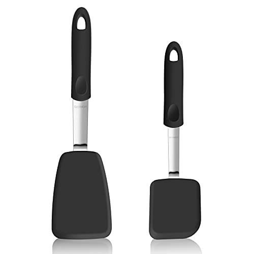 GEEKHOM Silicone Spatula Turner 2 Pack for Nonstick Cookware,600°F Heat Resistant Flexible Kitchen Small Spatulas Set,Cooking Utensils Non Scratch or Melting Flipper,Ideal for Egg,Pancake Baking