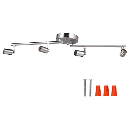 4-Light Adjustable LED Dimmable Track Lighting Kit by AIBOO,Flexible Foldable Arms,Satin Nickel Kitchen,Hallyway Bed Room Lighting Fixture, GU10 Base Bulbs not Included