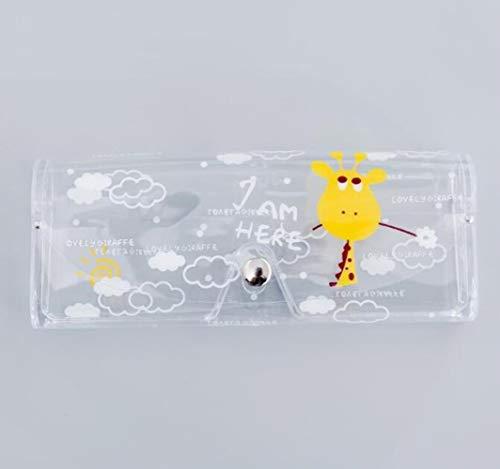 1 funda protectora de plástico transparente con botón de metal para gafas de sol, caja de lápices de frutas, animales, jirafa