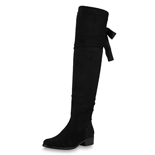 SCARPE VITA Damen Stiefel Overknees Leicht Gefütterte Boots Veloursleder-Optik Schuhe Satin-Look Schleifen Bequeme Langschaftstiefel 169288 Schwarz Black Total 37