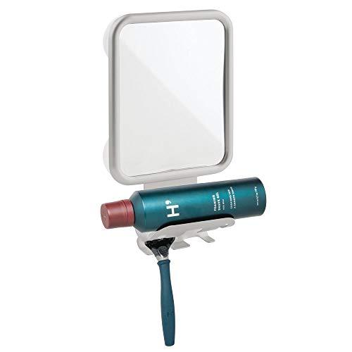 mDesign Modern Metal Suction Shaving Mirror Center for Bathroom Showers and Tubs - Holders for Shaving Cream and Razors - Light Gray