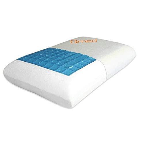 Qmed Almohada de espuma viscoelástica y gel de refrigeración, 60 x 40 x 13 cm, para más refrescante al dormir y una sensación de frescor en los días calurosos, forma ergonómica