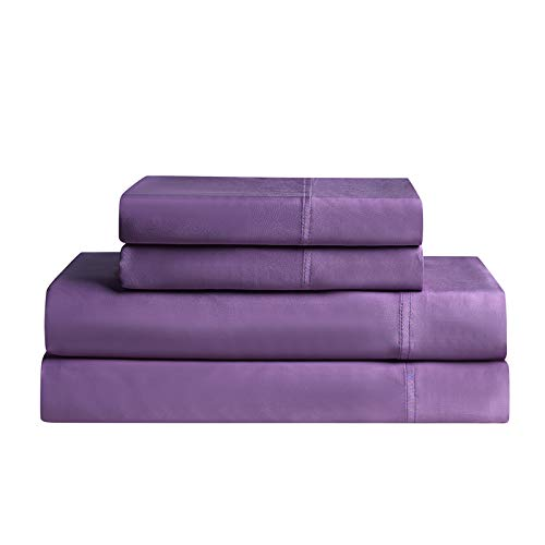 YNM 100% Bamboo Sheet Set - 500TC Durable & Natural Bamboo Sheets Collection, 4-Piece Set Includes Flat Sheet, Fitted Sheet, and 2 Pillowcases - Full, Lavender Purple