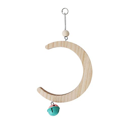 YU-NIYUT Parrot Swing Perch Stand Moon Shape Hammock Hanging Bell Pet Bird Wooden Cage Funny Bird Training Supplies for Parakeet Macaws Conures