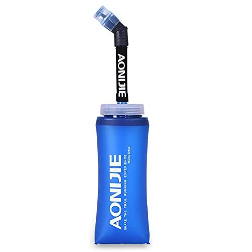 350ML 600ML Soft Flask TPU pieghevole in esecuzione bottiglie d'acqua senza BPA Boccetta pieghevole per pacchetto di idratazione ciclismo maratona corsa escursionismo (600ml/22oz - 1PCS)