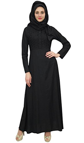 Bimba Frauen-Voll Sleeve Black Muslim Kleidung Abaya Maxikleid mit Hizab-44