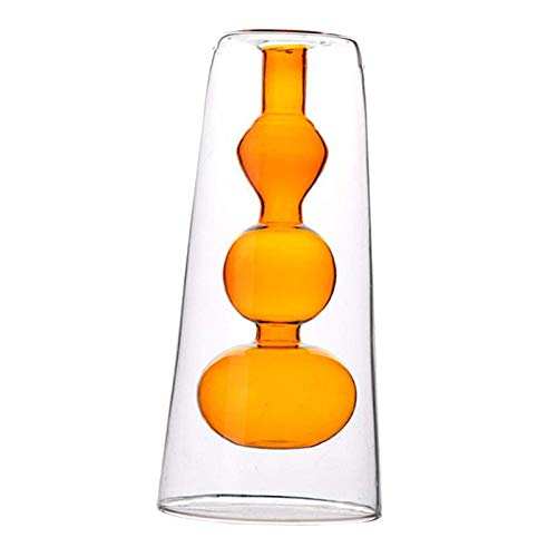Florero de vidrio Maceta hidropónica para oficina, sala de estar, escritorio para bodas, decorativo, estilo y diseño de corte clásico, doble piso de vidrio ahuecado, marrón