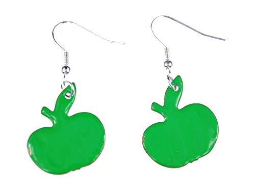 Aretes Miniblings esmalte manzana pendientes manzana verde esmalte huerto - joyería hecha a mano de manera I pendientes pta