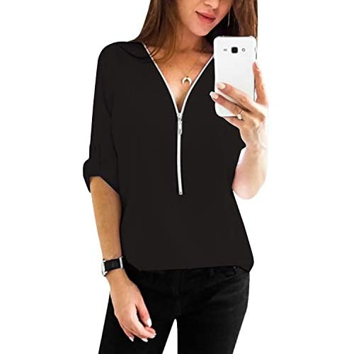 YOINS Women V Neck Shirts Summer Adjustable Sleeve Blouse Tops Casual Solid Zipper Tunic