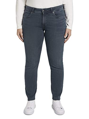 TOM TAILOR MY TRUE ME Damen Jeanshosen Slim Jeans Used Dark Stone Blue Denim,48