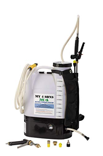 M4 MY4SONS Battery Powered 4-Gallon Backpack Sprayer with Heavy Duty Straps Sprays up to 30 feet Includes Professional Spray Pistol and 15 Foot Extension Hose