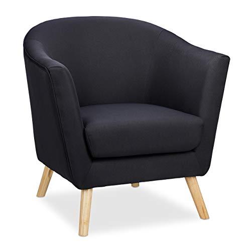 Relaxdays Cocktailsessel, gepolstert, Stoffbezug, Retro Sessel Wohnzimmer, Esszimmer, Lounge, HBT: 80x80x72cm, schwarz
