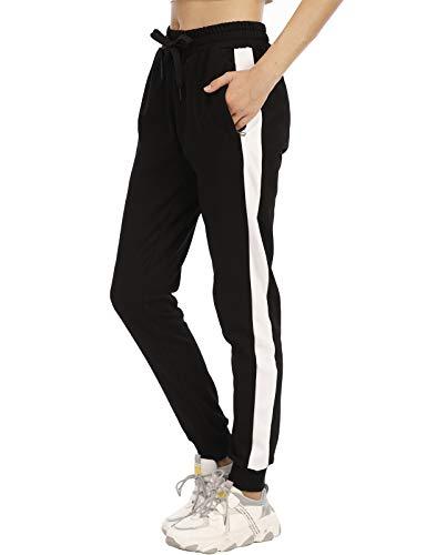 DAFENP Pantalon Chandal Mujer Largos Pantalones Chándal Deporte Yoga Fitness Gimnasio Jogger Algodón Pantalones Casual Rayas con Cremallera Bolsillo KZ6038W-BlackWhite-1G-M
