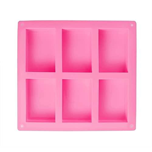 LQXZJ-Molde para hornear Jabón de silicona 2pcs del molde del chocolate del molde del molde rectangular con la cocción al hueco 6 1 Moldes for la producción de galletas de la torta de hielo (rosa)