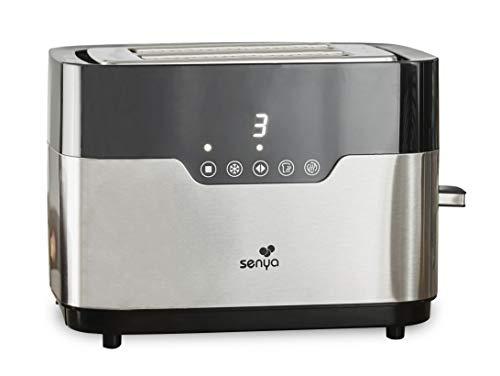Senya Tostadora de Acero Inoxidable Smart Toaster, 2 Ranuras Grandes, Botones Táctiles, Pantalla Led, Cuerpo de Acero Inoxidable de 850 W