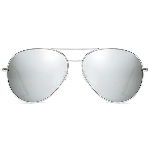 LG Snow Gafas De Sol Clásicas De Metal con Montura Plateada, Plata/Azul, Lentes for Hombres Y Mujeres con Las Mismas Gafas De Sol Polarizadas (Color : Silver)