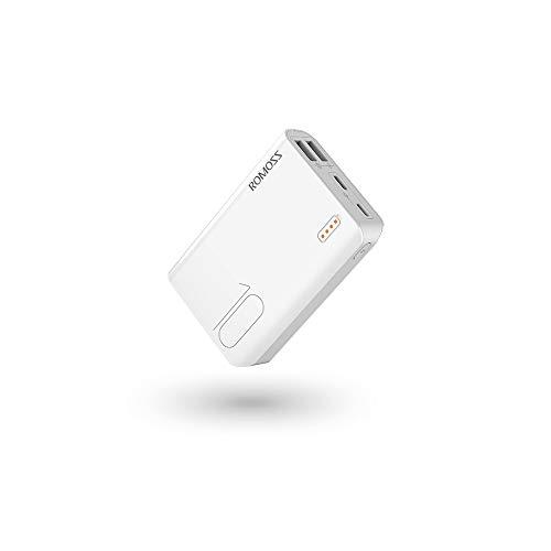Romoss 10000mAh Bateria Externa PowerBank para Movil Cargador Portátil con 2 Puertos USB y Luces LED Cargador Compacto Batería Portátil Carga para Teléfono Móvil,Tablets y Más (Blanco)