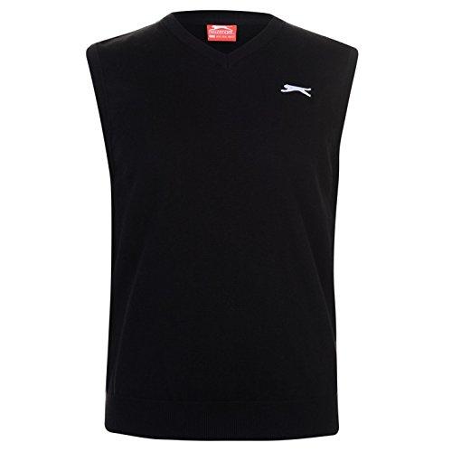 Slazenger Herren Golf Pullover Ärmellos V Ausschnitt Schwarz XL