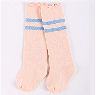 Lovely Socks Children Cotton Socks Kids Cotton Horizontal Stripe Lace Mid Tube Socks (Blue) Newborn Sock (Color : Orange, Size : S)